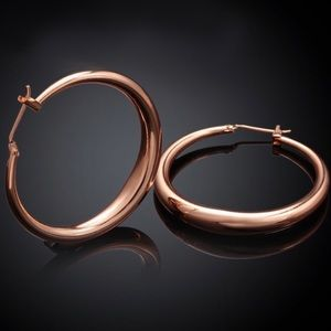 "New 18K Rose Gold 1.5"" Round Hoop Earrings"